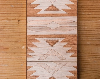 Laser-Etched Wood iPhone Case - Navajo Design - Lumber Armor - Fits iPhone 7, iPhone 6, 6S, SE, 6+ / 6S+, 5S / 5