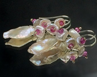 Keishi Pearl Cluster Earrings Wire Wrap Sterling Pink Quartz and White Pearl Earrings Wedding Bridesmaid Pink Gemstone Cluster