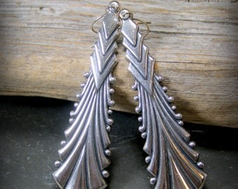 Silver Earrings, Long Dangle Earrings, Art Deco Earrings, Bohemian Earrings, Long Teardrop Earrings, Womens Earrings