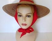 Vintage Wide Brim Straw Hat with Red Scarf Tie 1940s Sun Hat Garden Cartwheel Hat
