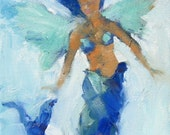 Mermaid Angel Giclee Print from Original 8x 10 Oil Painting - Beach Cottage Chic, Seaside and Ocean Art