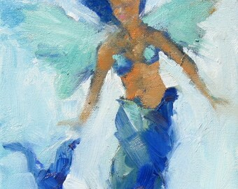 Mermaid Angel Giclee Print from Original 8x 10 Oil Painting - Beach Cottage Chic, Seaside and Ocean Art