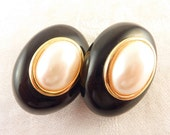 Vintage Black Oval Faux Pearl Gold Tone Clip On Earrings By Kenneth Lane