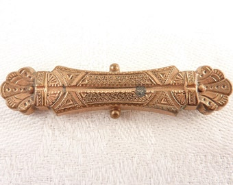 Antique Victorian Gold Filled Etruscan Style Bar Brooch
