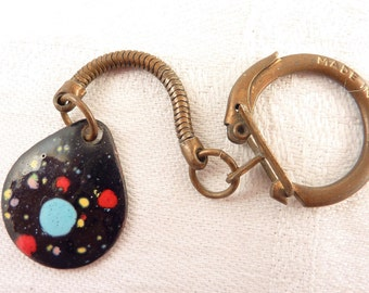 Vintage Colorful Spotted Black Enamel Over Copper Charm On Brass Key Chain Made in Italy