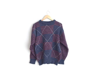 Size L // STRIPED ARGYLE SWEATER // Grunge - Navy Blue & Red - Knit Wool Pullover - Vintage '80s.