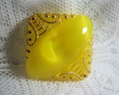 Vintage Medium Size Yellow Moonglow Modified Square Button
