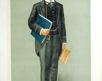 Vanity Fair Print - Diplomaticus - Journalist - Lucien Wolf - 1911 Antique Chromolithograph - Gift for Him
