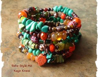 Turquoise Jewelry, Rustic Chunky Stone Bracelet, Colorful Jewelry, Boho Southwest Jewelry, Boho Style Me, Kaye Kraus