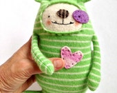 Small Striped Cashmere Stuffed Animal Dog Upcycled Repurposed Sweater