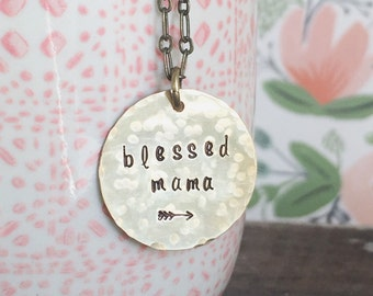 Blessed Mama Arrow Necklace.  Hand stamped antique brass-gold.  Mother's Day Gift
