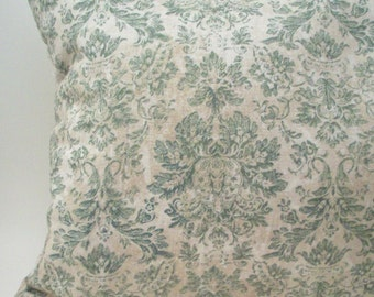 Lavender Buckwheat Pillow - Green and Cream - Victorian Damask Wall Paper Style - Decorative Neck Roll Lumbar Throw Pillow - Nursing Support