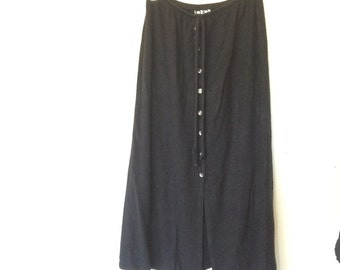 Button Front Black Stretch Midi Skirt Goth Witch S M 90s