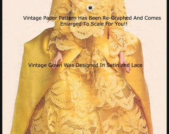 Barbie Dress Ballroom Sewing Pattern Vintage Barbie Dress Gala Costume Dress----Pattern PDF -Mailed Copy Available Inquire -DurhamDeals