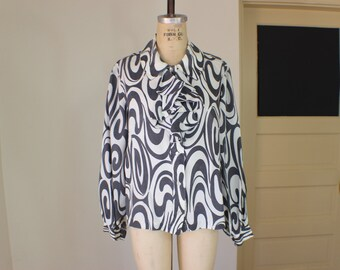 Ruffle Blouse / Gray and White Secretary Blouse / Vintage Women's Top