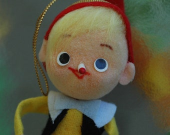 Vintage felt Pinocchio Christmas ornament bendy classic red nosed little elf tree trimming holiday traditional storybook theme fairytale