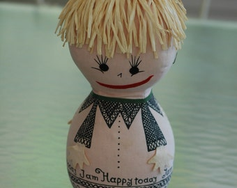 Vintage child's toy how are you feeling cloth emotion doll 1960s emotions expression 12 inches tall teaching tool happy sad furious bored