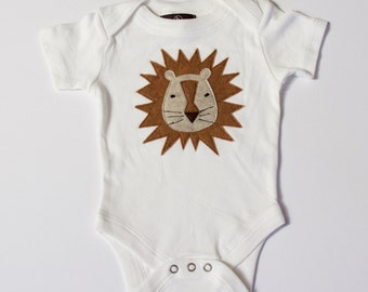 baby boy, baby girl, baby one piece bodysuit, Leonardo the Lovable Lion, baby boy clothing, modern baby clothes, baby shower gift, lion tee
