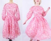 "1950s dress vintage 50s pink chiffon novelty print animal party dress S W 26"""