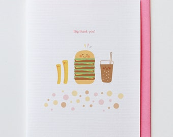 Hamburger Thank You Card - Funny Unique, Cute, Kawaii, Coke, French Fry, Potato, Food
