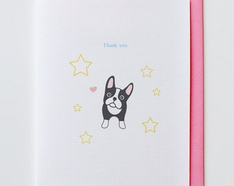 Boston Terrier Thank You Card - Funny, Unique, Cute, Kawaii, Dog, Animal Card, Star