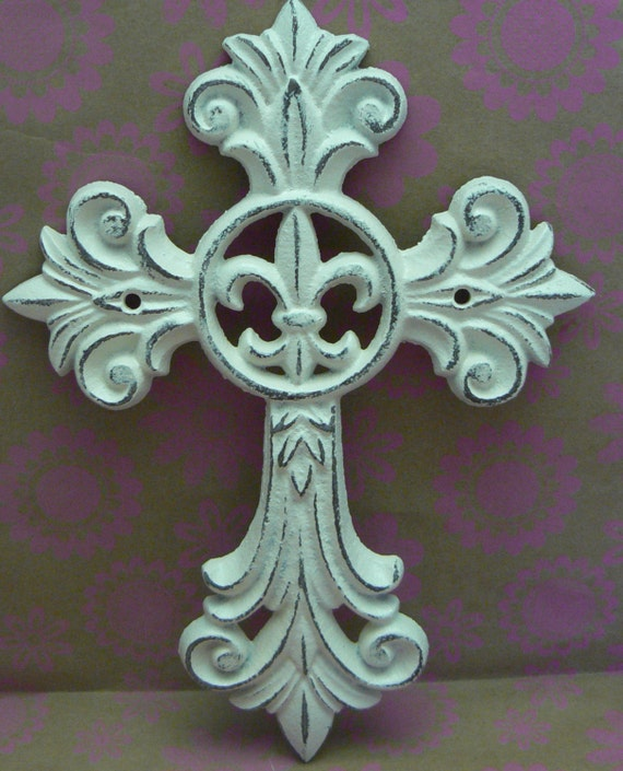 Fleur De Lis Home Decor Wall Art ~ Fleur de lis cross wall decor off white cream distressed fdl