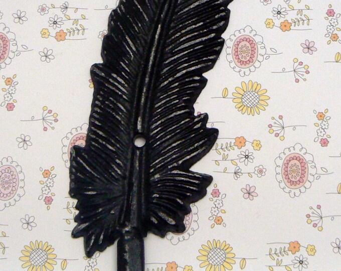 Feather Cast Iron Boho Wall Hook Shabby Chic Black White Bohemian Home Decor