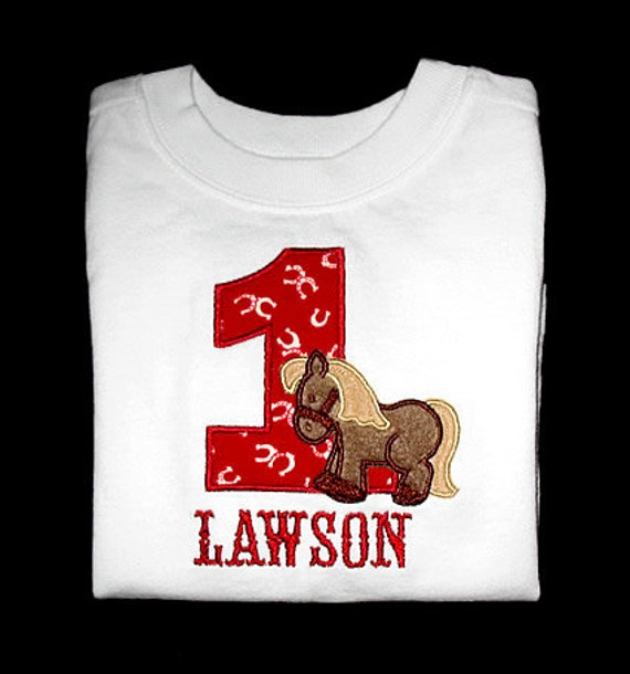 Custom Personalized Applique Birthday Number HORSE and NAME Bodysuit or Shirt - Red and Brown