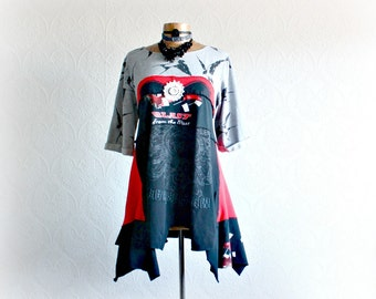 Lagenlook Shirt Women's Black Tunic Bird Print Upcycled Clothing Asymmetrical Loose Fit Red Bohemian Top Patchwork Clothes Large 'BROOKLYN'