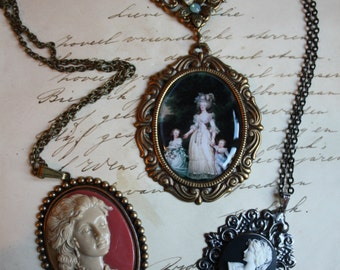 3 Necklaces Handmade Clearance Sale Wholesale Gothic Ornate Filigree Necklace Marie Antoinette Cameo Baroque Whimsical Antiqued
