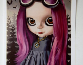 Pastel Goth Steampunk Blythe Doll print illustration bats goth pink hair