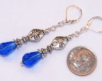 Sapphire BLUE TEARDROP Crystal CROSS Lever Back Earrings Silver Pl