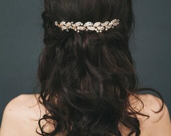 Bridal Hair Vine | Gold Leaf Hair piece | Wedding Hair Comb | Crystal and Pearl Hairpiece | Grecian Headpiece [Petite Gilded Ava Hair Vine]