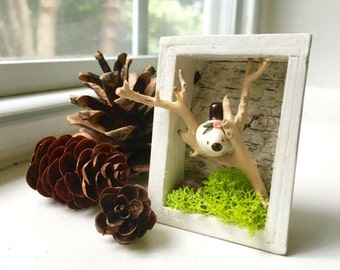 Love Bird Shadow Box/ Shadow Box Magnet/ Tiny Diorama/ Miniature shadow box/ Bird Magnet
