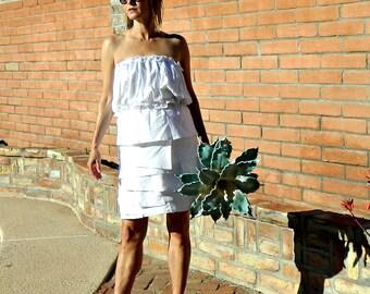 Wedding Top-Wedding Dress Top-Wedding Separates-Two Piece Wedding Dress-Bonjour Ruffle Bubble Maternity Top-Tissue Linen-Tie Sash