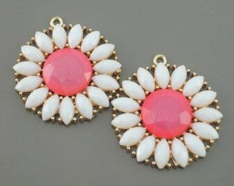 Gold Earring Findings - Flower Pendants - Daisy Earrings - Pink Earring Findings - Earring Component - DIY Earrings - 2 pieces