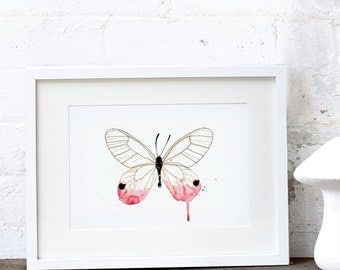 Pink Butterfly Art Print Watercolour A3 and A2