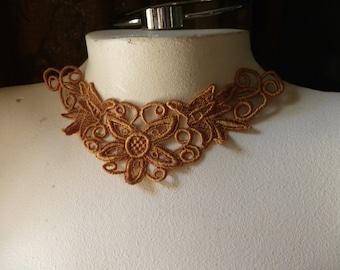 SAFFRON GOLD Lace Applique in Venice Lace for Statement Necklaces, Jewelry Supply, Costume Design CA 103saf