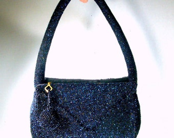 Gorgeous Blue Black Beaded Purse, 1940s, 1950s, Like Irridescent Lizard Skin, Carnival Glass Rainbow Aurora Borealis, Wrist Strap