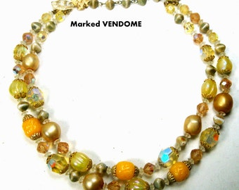 VENDOME 2 Strand Yellow n Crystal Art Glass Bead Necklace, Pearls, Gold, Aurora Borealis, GLAM Mad Men Choker, 1960s, Elegant Signed Classic