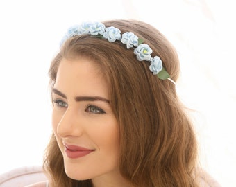 Blue Vintage Rose Flower Crown Floral Headband Bridesmaids Hair Accessory Flower Girl Halo Boho Music Festival flower Crown Baby Photo Prop