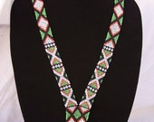 RESERVED FOR DOUG Vintage Handmade Loom Beaded Necklace