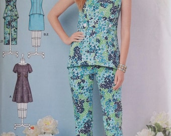 Misses' Career Wardrobe, Simplicity S0512 Sewing Pattern, Flared Skirt Dress, Sleeveless Fitted Top, Cropped Pants, Skirt Plus Size 10- 18
