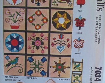 Hex Motif Pattern 60's McCall's Pattern 7034 Transfers for Applique, Crewel Embroidery Round and Square Pillows, Room Divider, Wall Hanging