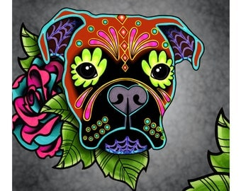 "SALE Regularly 14.95 - Boxer in Fawn - Day of the Dead Sugar Skull Dog 8"" x 10"" Art Print"