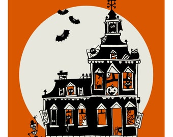 CLEARANCE - Vintage Style Haunted House Art Print - Happy Halloween - 8 x 10 - Prints for Pits Rescue Donation