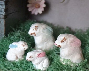 Vintage Chalkware Easter Bunny Rabbit Family Figurines Miniature