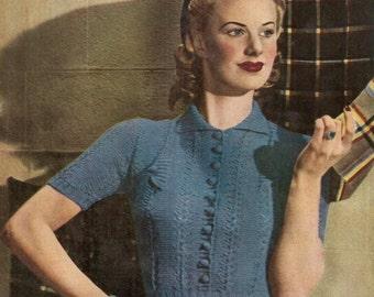 Smart Jumper Vintage Knitting Pattern 235
