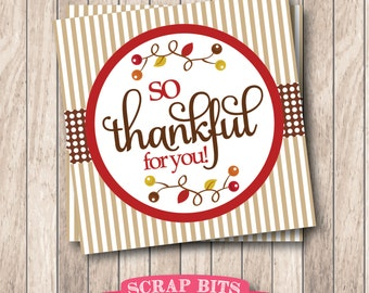Instant Download . Printable So Thankful For You Tags, Printable Thanksgiving Tags, So Thankful Tags