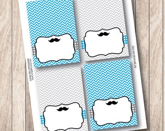 Instant Download Printable Tent Cards  . Printable Mustache Blank Food Tent Cards, Buffet Labels or Place Cards